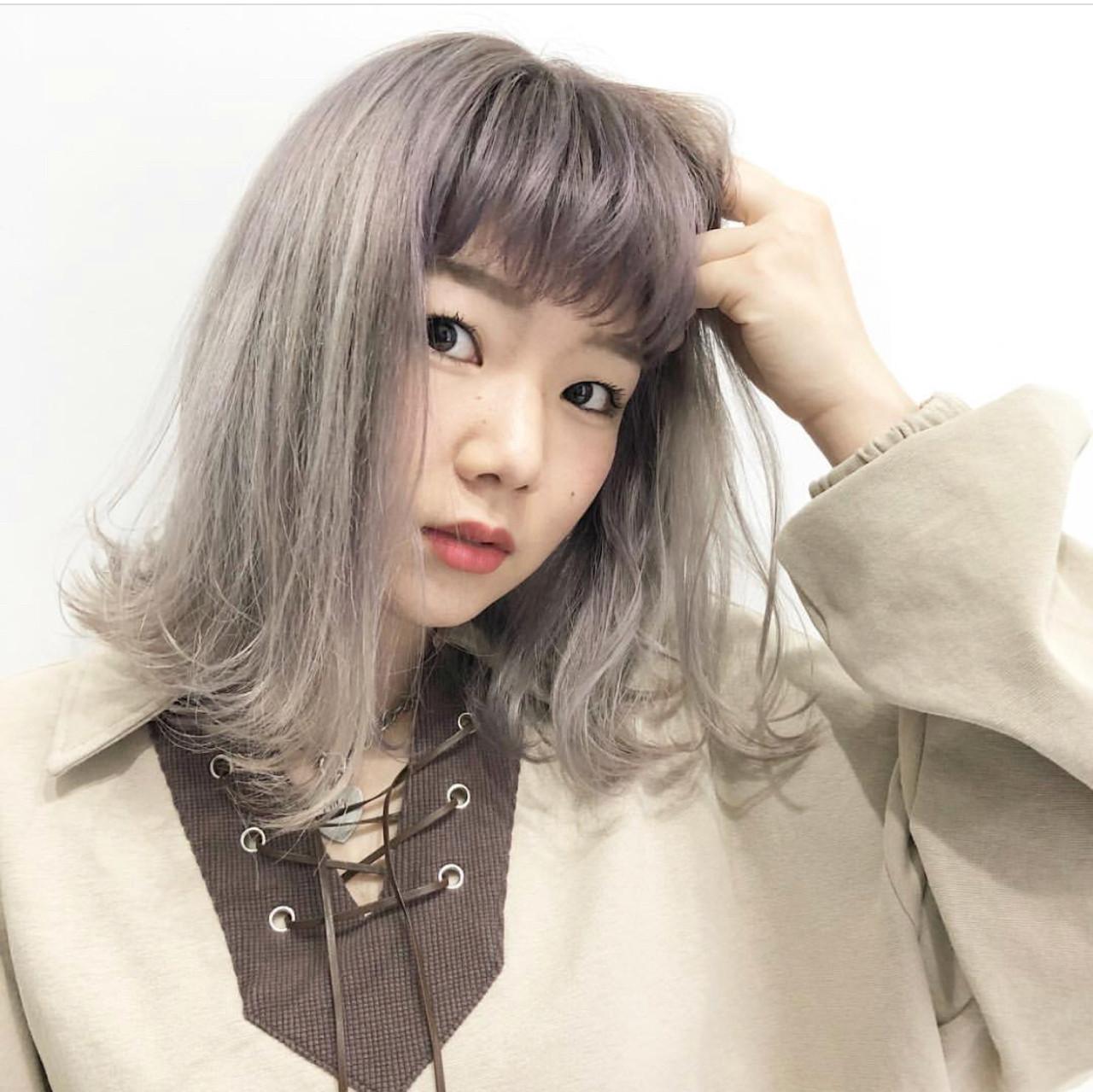 ストリート バレイヤージュ ラベンダーアッシュ 外国人風カラー ヘアスタイルや髪型の写真・画像 | AKANE / LOGUE