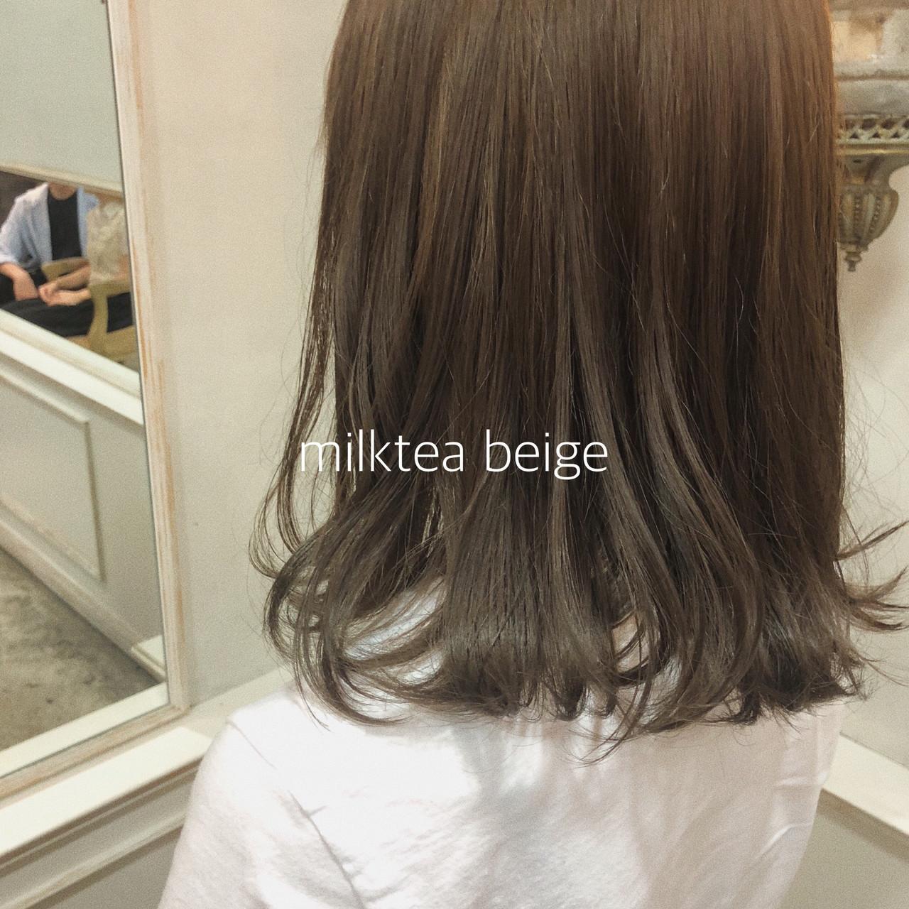ヘアアレンジ ミルクティーベージュ 簡単ヘアアレンジ シースルーバング ヘアスタイルや髪型の写真・画像