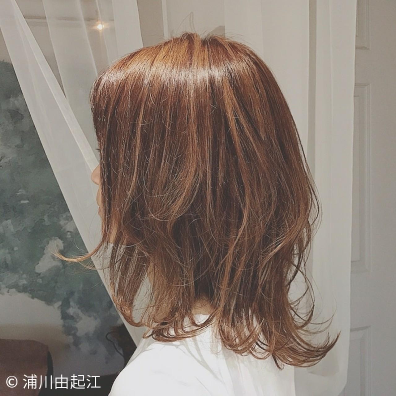 ゆるふわ グラデーションカラー 大人かわいい ミディアム ヘアスタイルや髪型の写真・画像