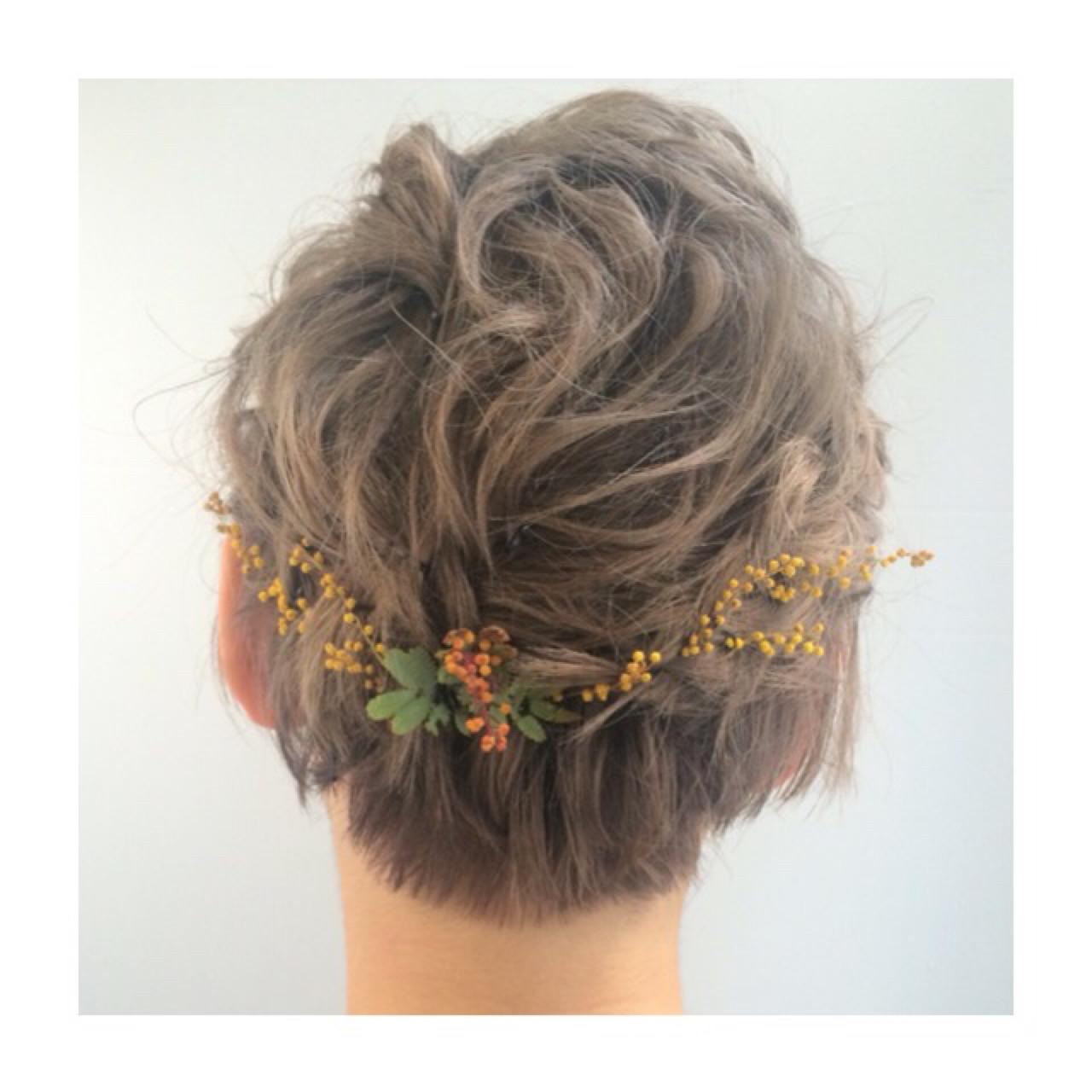 ショート 結婚式 ヘアアレンジ ハイトーン ヘアスタイルや髪型の写真・画像