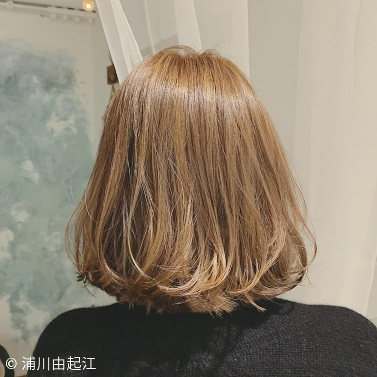 ボブ グラデーションカラー 大人かわいい ゆるふわ ヘアスタイルや髪型の写真・画像 | 浦川由起江 / nanon