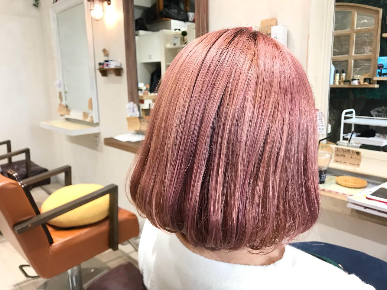 ストリート ピンク ダブルカラー ボブ ヘアスタイルや髪型の写真・画像   田島 史也 Liberty 福岡 天神 / Liberty