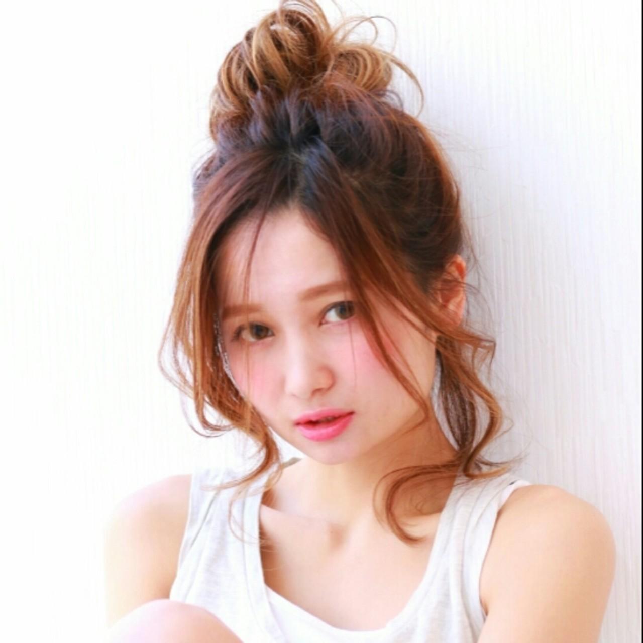 ショート お団子 ミディアム 大人かわいい ヘアスタイルや髪型の写真・画像