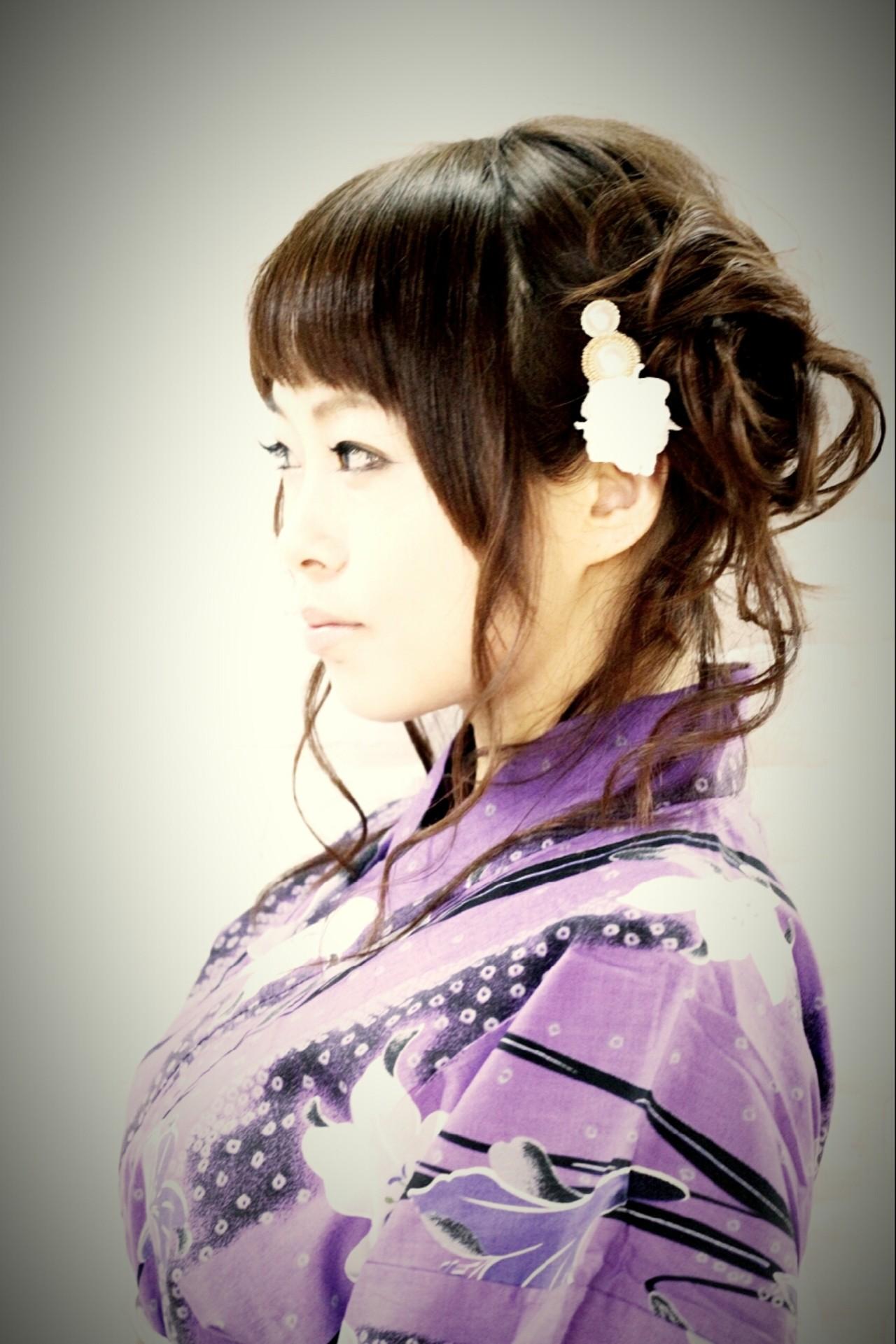 お祭り 和装 ヘアアレンジ 夏 ヘアスタイルや髪型の写真・画像