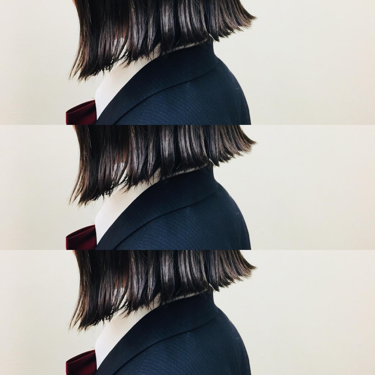 外ハネ 時短 切りっぱなし ボブ ヘアスタイルや髪型の写真・画像