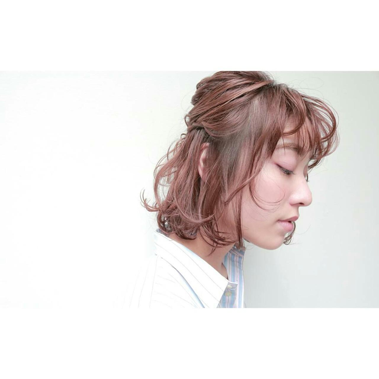 簡単ヘアアレンジ ボブ ヘアアレンジ ショート ヘアスタイルや髪型の写真・画像