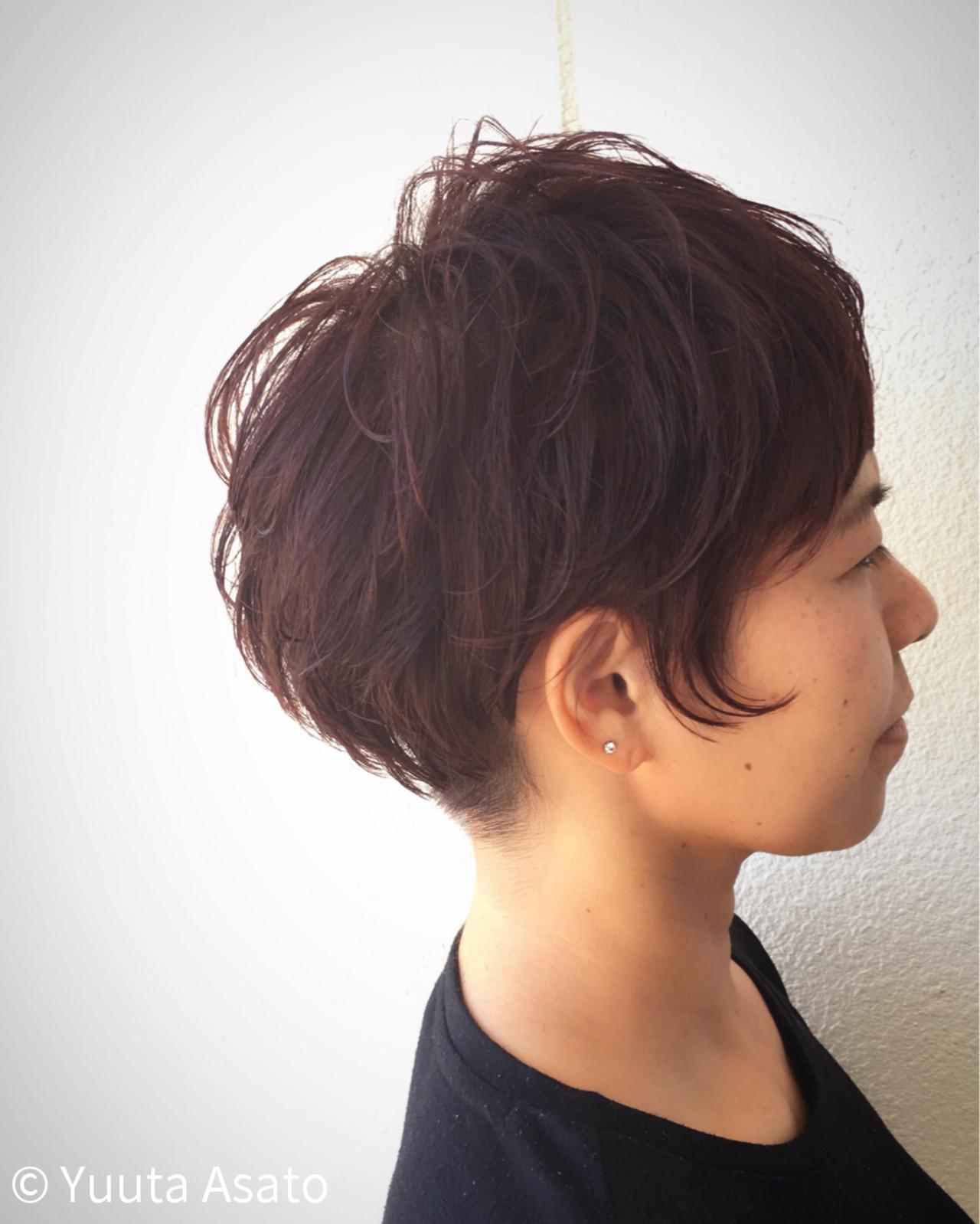 ストリート ショート ベリーピンク 坊主 ヘアスタイルや髪型の写真・画像 | Yuuta Asato / Moana by HEADLIGHT 沖縄東崎店