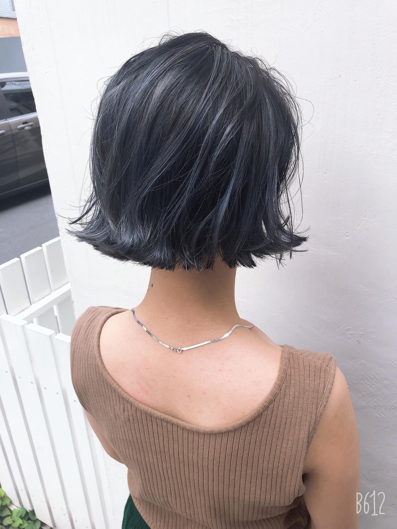 ハイライト ボブ ナチュラル アンニュイほつれヘア ヘアスタイルや髪型の写真・画像