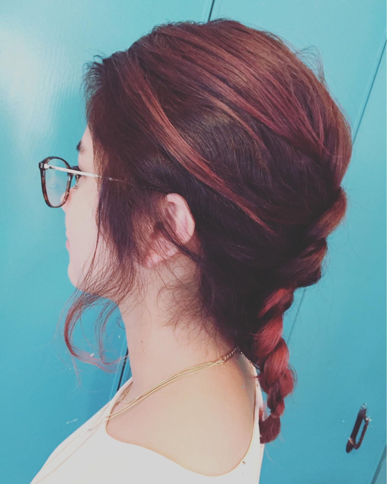 グラデーションカラー ハイライト ミディアム ピンク ヘアスタイルや髪型の写真・画像