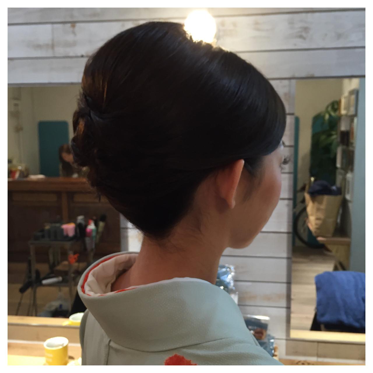 夜会巻 結婚式 ミディアム 着物 ヘアスタイルや髪型の写真・画像
