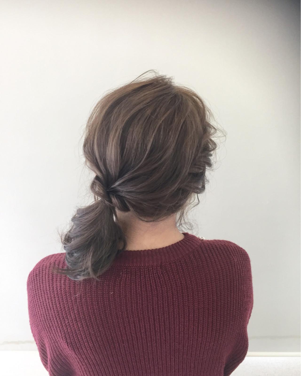ローポニーテール ヘアアレンジ 簡単ヘアアレンジ 大人女子 ヘアスタイルや髪型の写真・画像 | 新谷 朋宏 / Free hairstylist shinya
