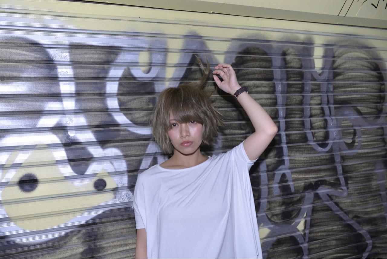 抜け感 ストリート ボブ ラフ ヘアスタイルや髪型の写真・画像 | 渡邊りつ /