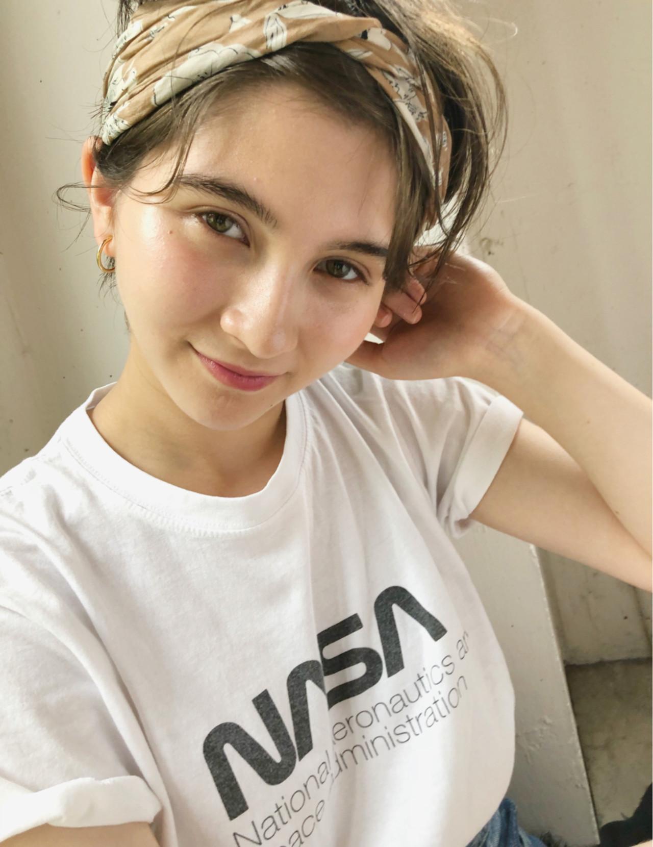 夏 ガーリー ヘアアレンジ スポーツ ヘアスタイルや髪型の写真・画像