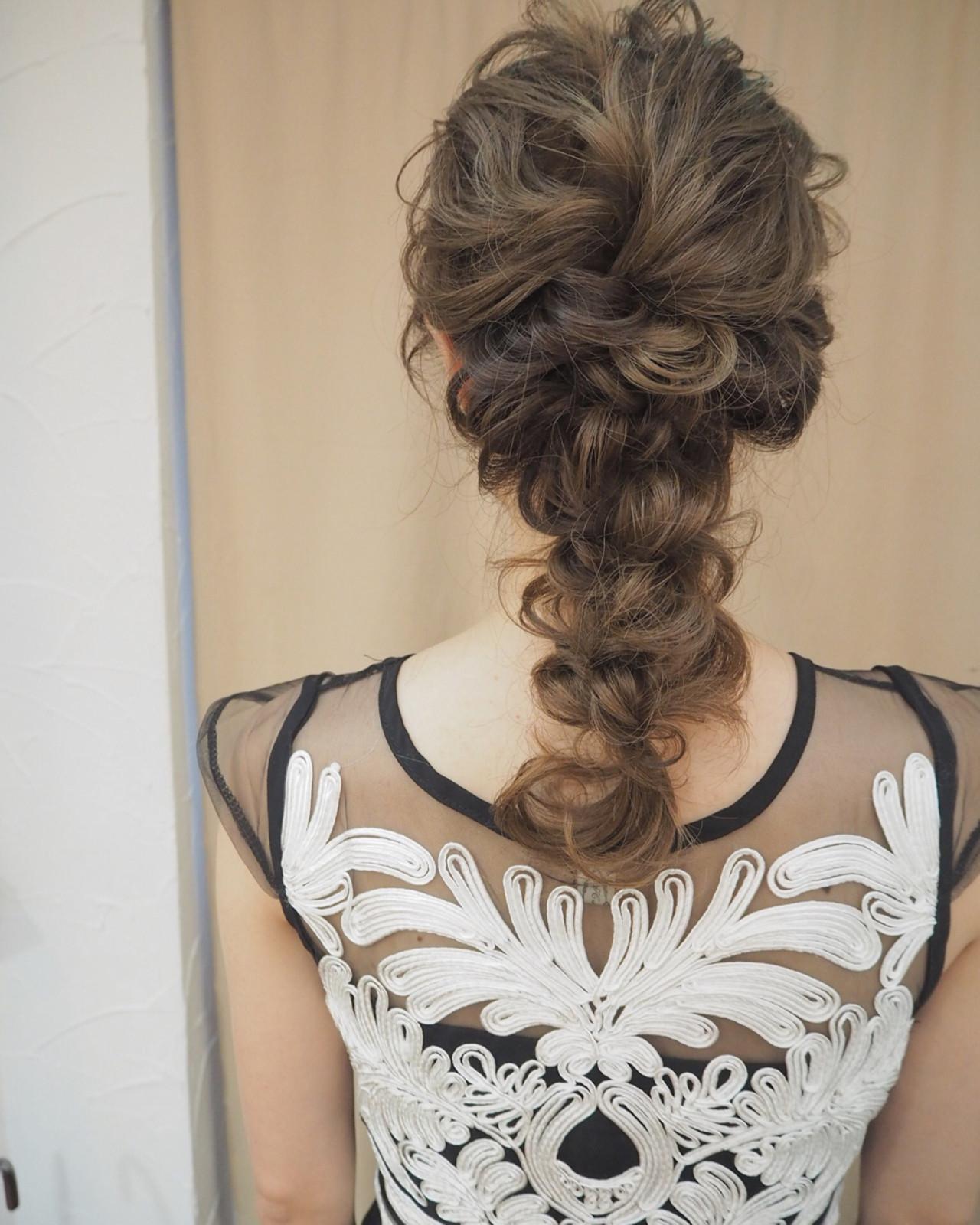 結婚式 ヘアアレンジ ナチュラル ロング ヘアスタイルや髪型の写真・画像