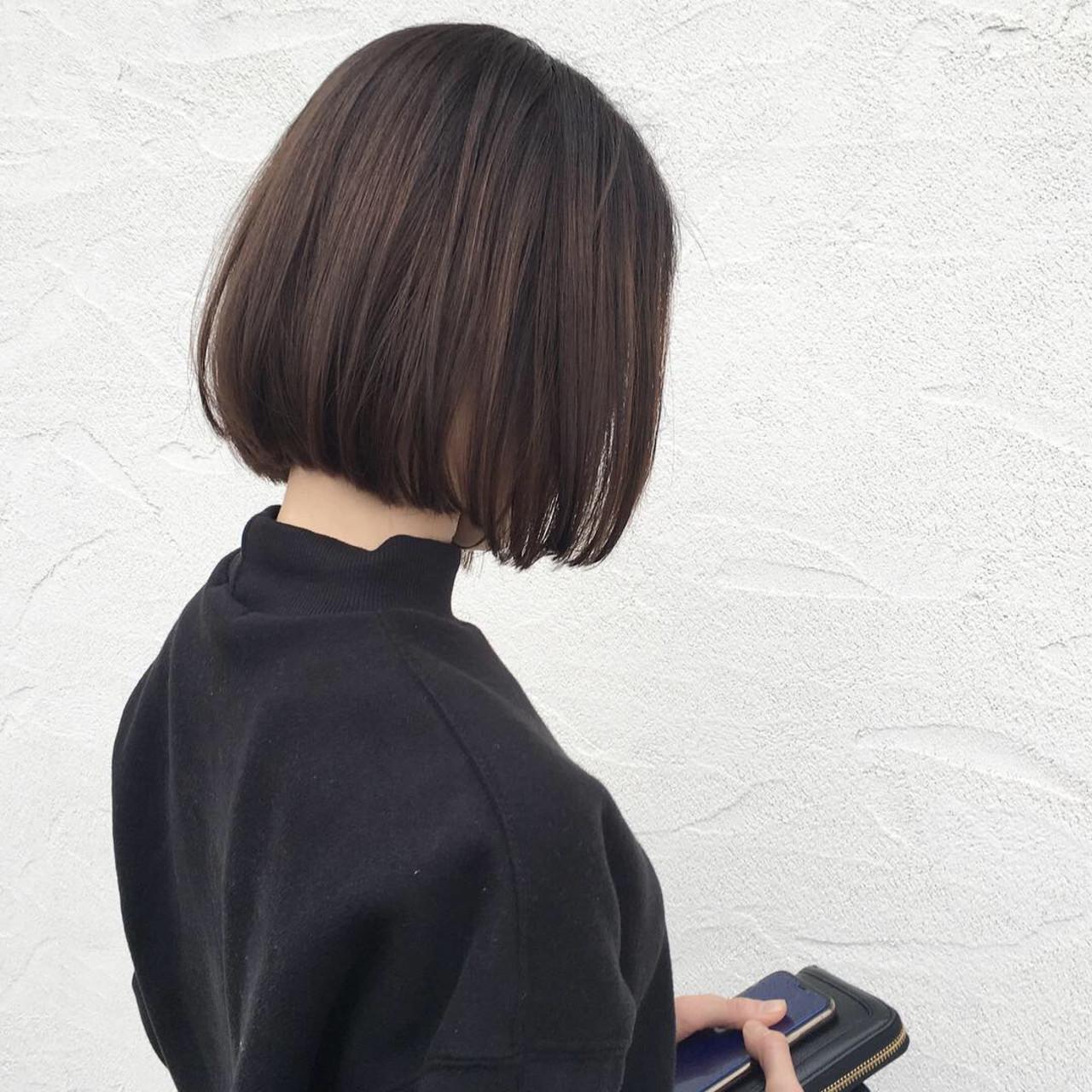 ナチュラル ミニボブ オフィス 大人可愛い ヘアスタイルや髪型の写真・画像 | 原田あゆみ / coquille/コキーユ