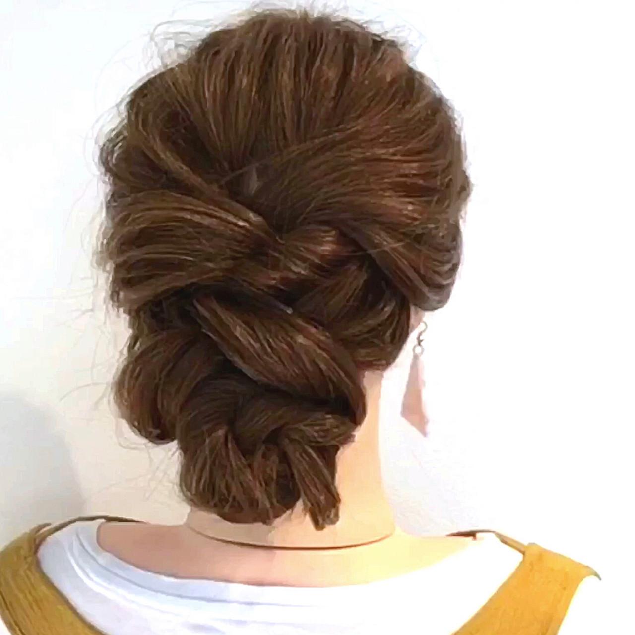 ヘアアレンジ くるりんぱ セルフアレンジ フェミニン ヘアスタイルや髪型の写真・画像