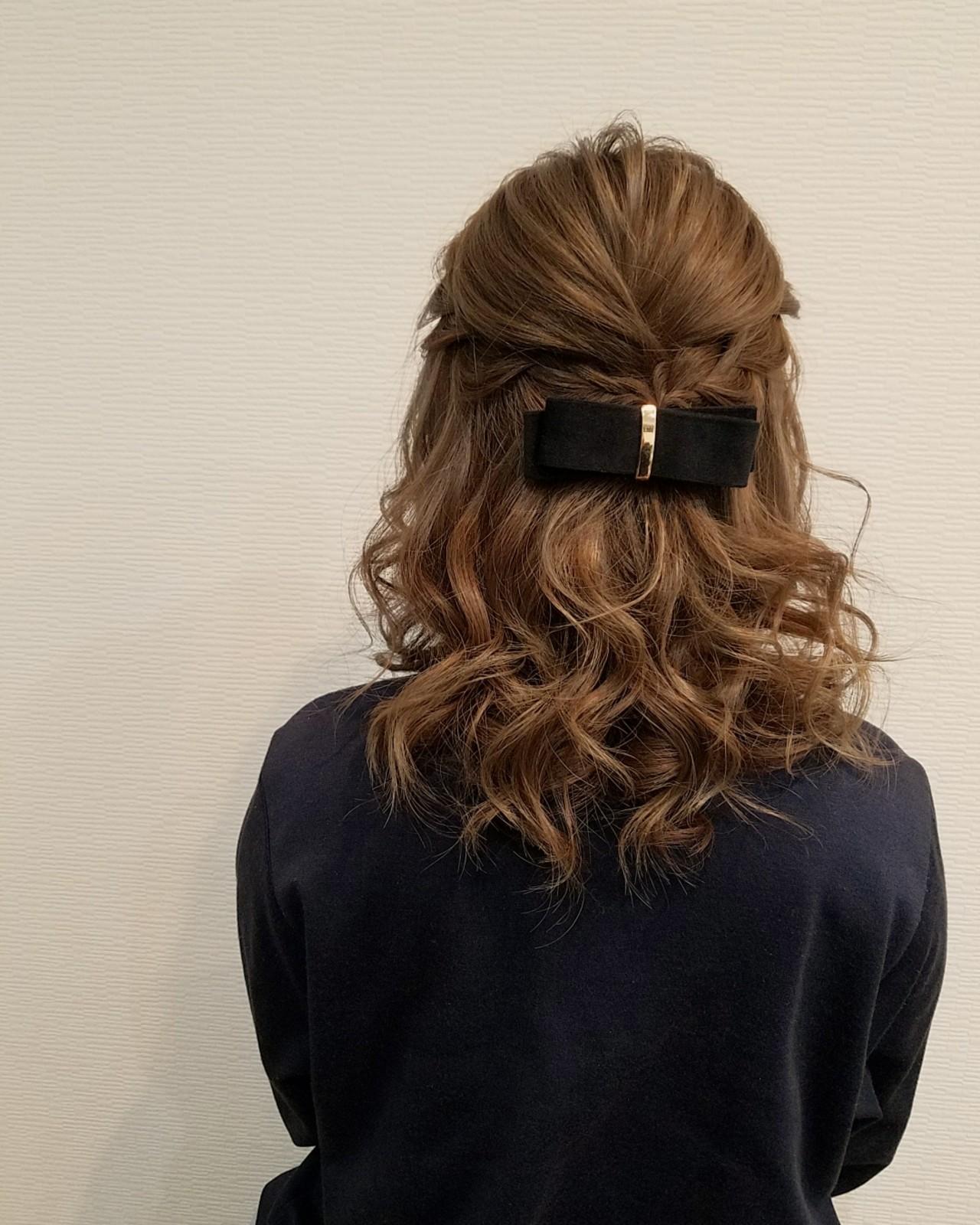 編み込み フェミニン ミディアム ハーフアップ ヘアスタイルや髪型の写真・画像   mai / HAIR SALON STELLA
