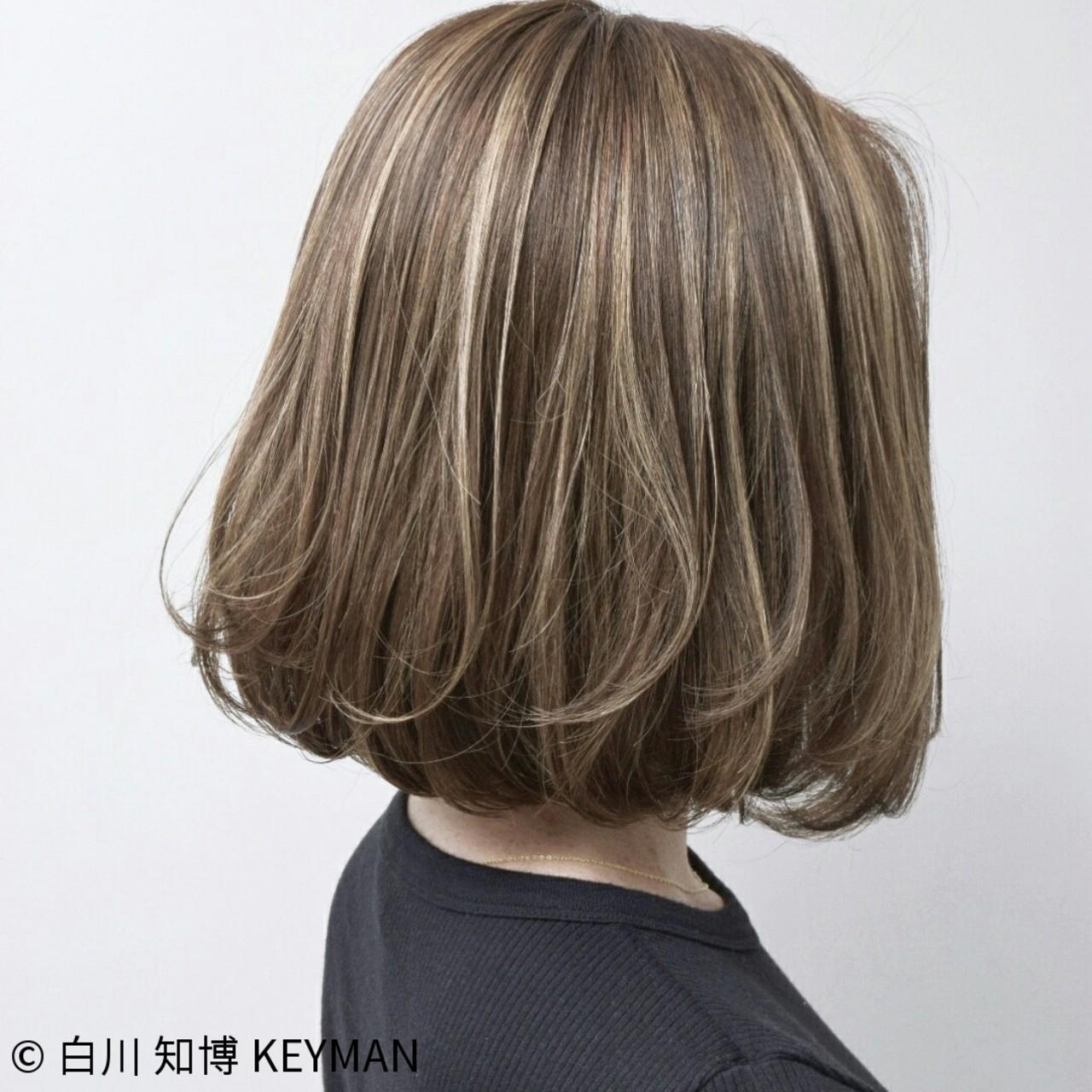 ハイライト リラックス バレイヤージュ ボブ ヘアスタイルや髪型の写真・画像