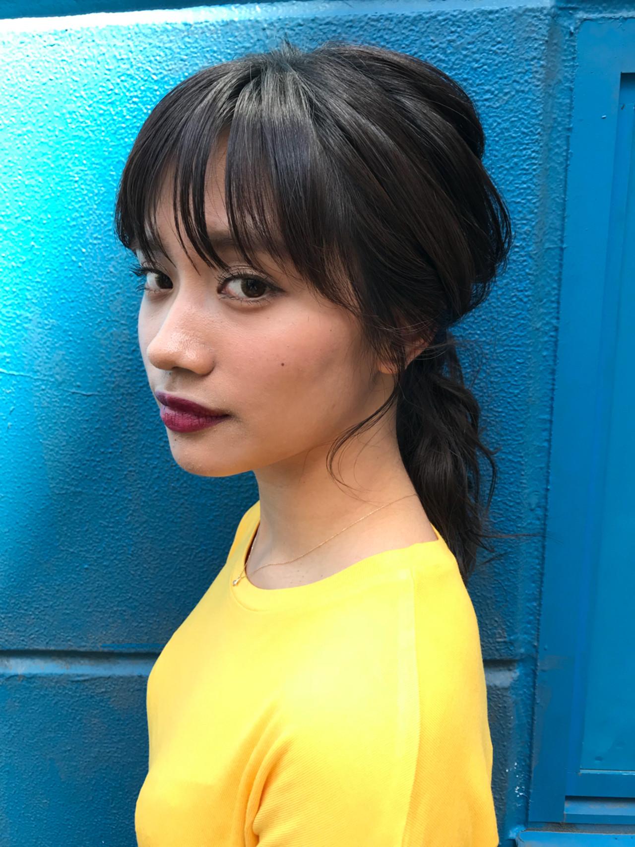 ポニーテール ヘアアレンジ ローポニーテール セミロング ヘアスタイルや髪型の写真・画像