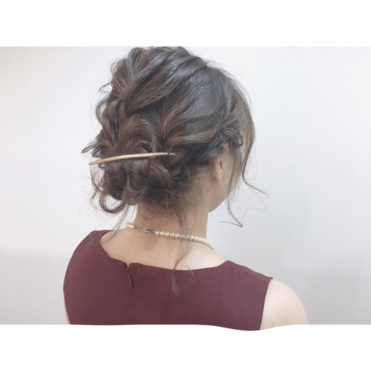 ショート 簡単ヘアアレンジ ミディアム 結婚式 ヘアスタイルや髪型の写真・画像