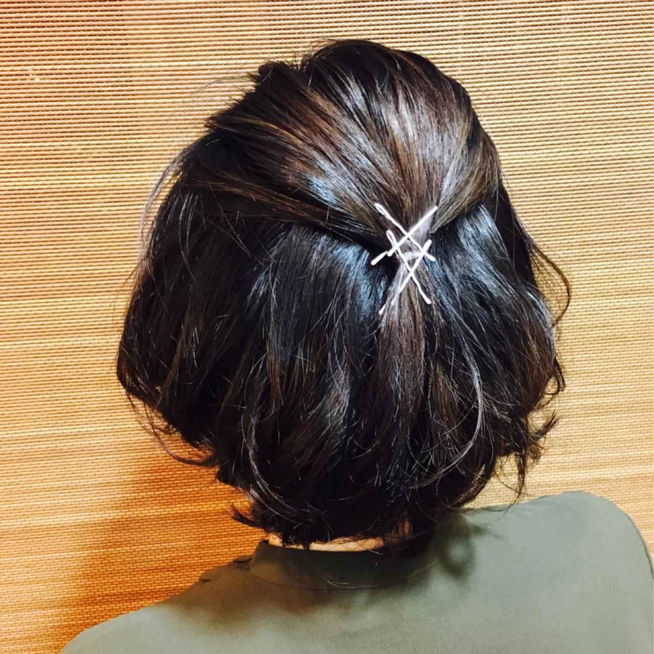 ハーフアップ 暗髪 簡単ヘアアレンジ ヘアアレンジ ヘアスタイルや髪型の写真・画像