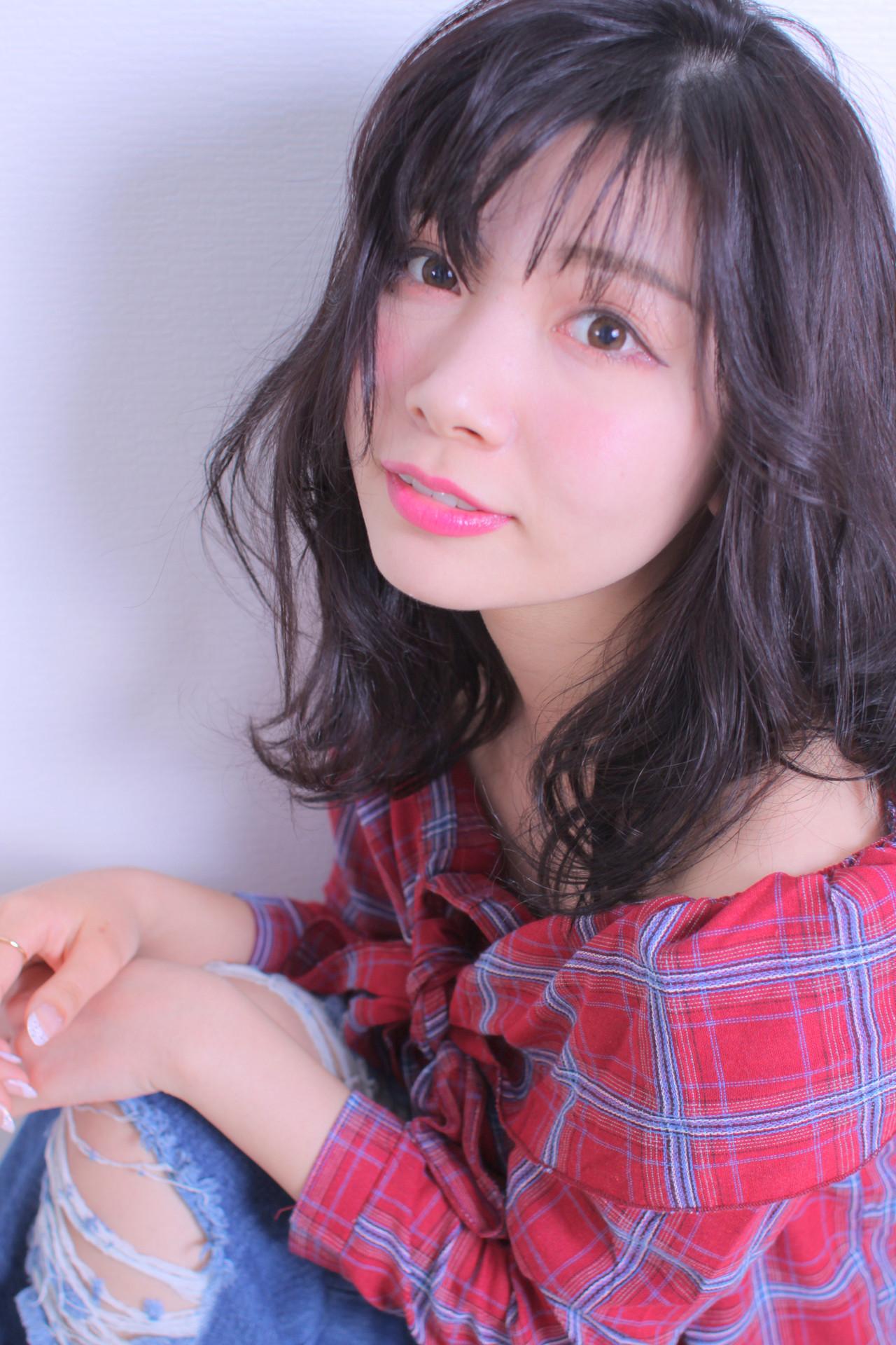 ロング アンニュイほつれヘア モテ髪 撮影 ヘアスタイルや髪型の写真・画像