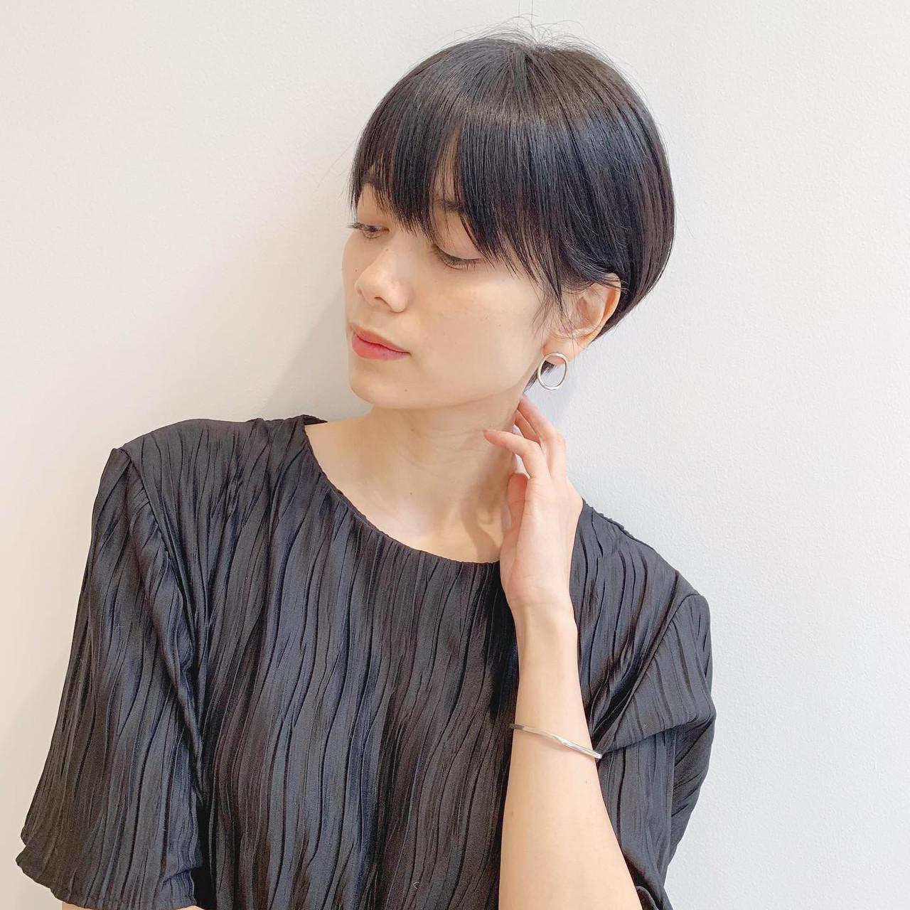 黒髪 アウトドア ショート オフィス ヘアスタイルや髪型の写真・画像 | ショートヘア美容師 #ナカイヒロキ / 『send by HAIR』