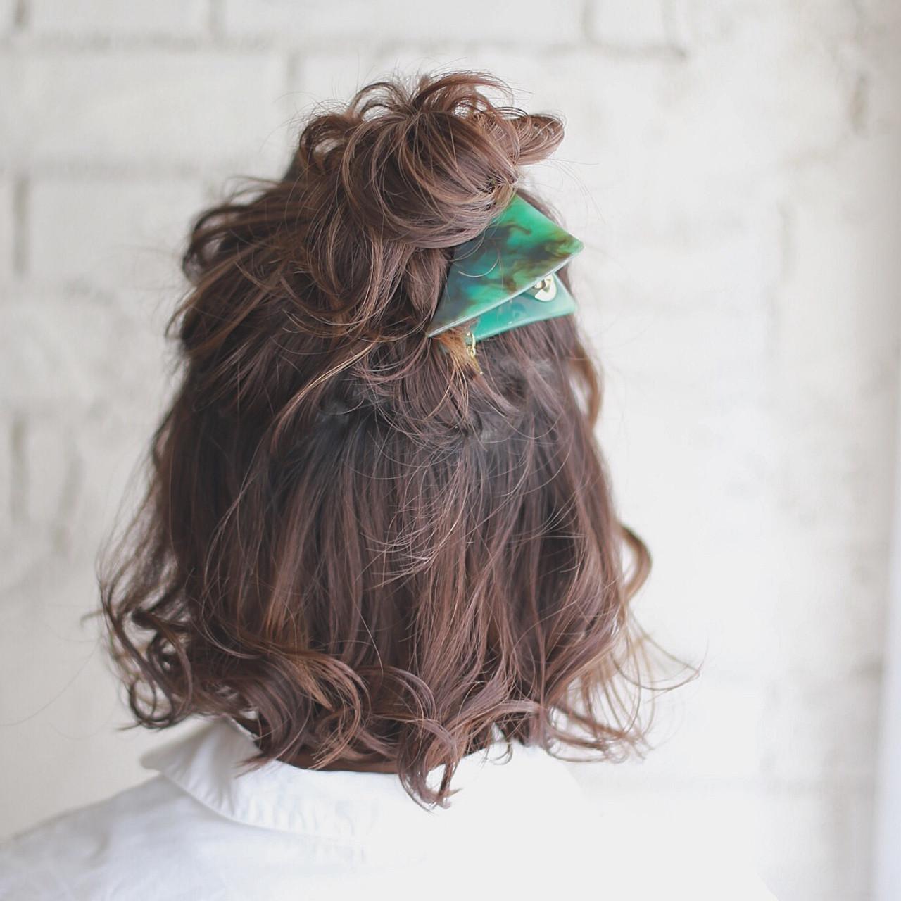 ヘアアレンジ 簡単ヘアアレンジ ハイライト ショート ヘアスタイルや髪型の写真・画像