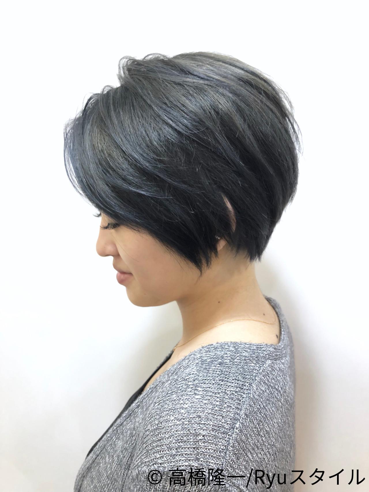 モード イルミナカラー ダークグレー 透明感カラー ヘアスタイルや髪型の写真・画像