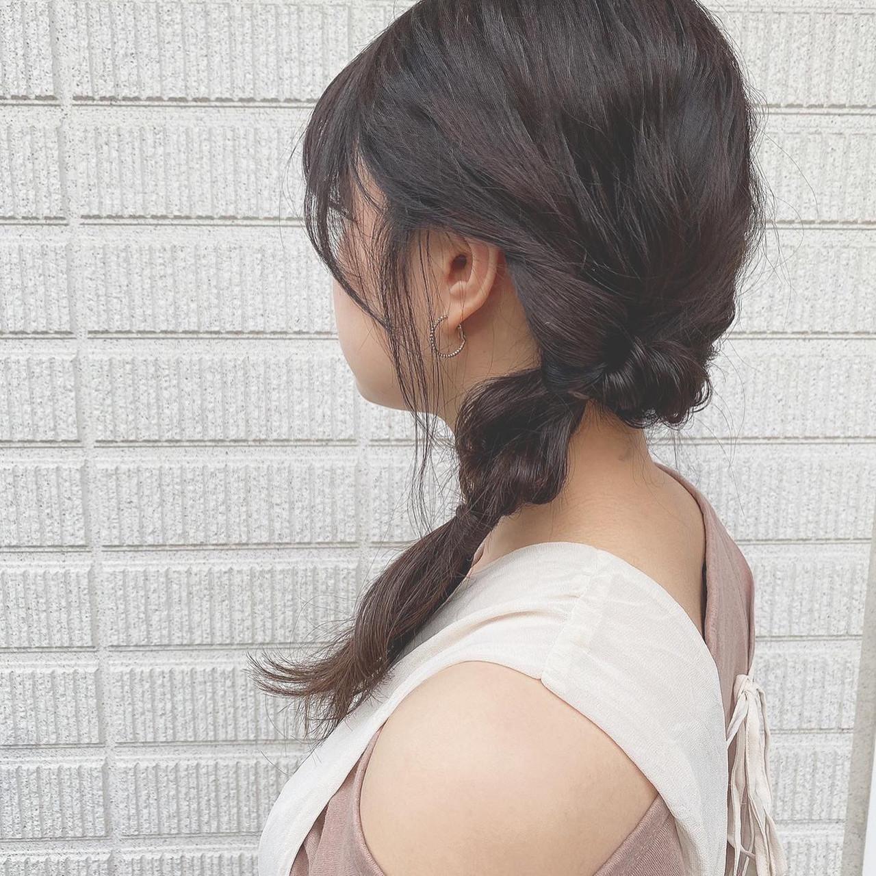 ヘアアレンジ 横顔美人 フェミニン ミディアム ヘアスタイルや髪型の写真・画像