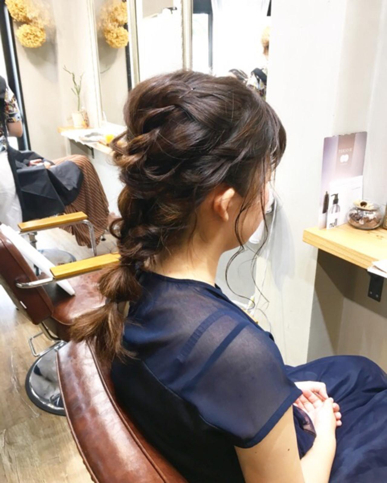 簡単ヘアアレンジ ナチュラル 結婚式 ミディアム ヘアスタイルや髪型の写真・画像