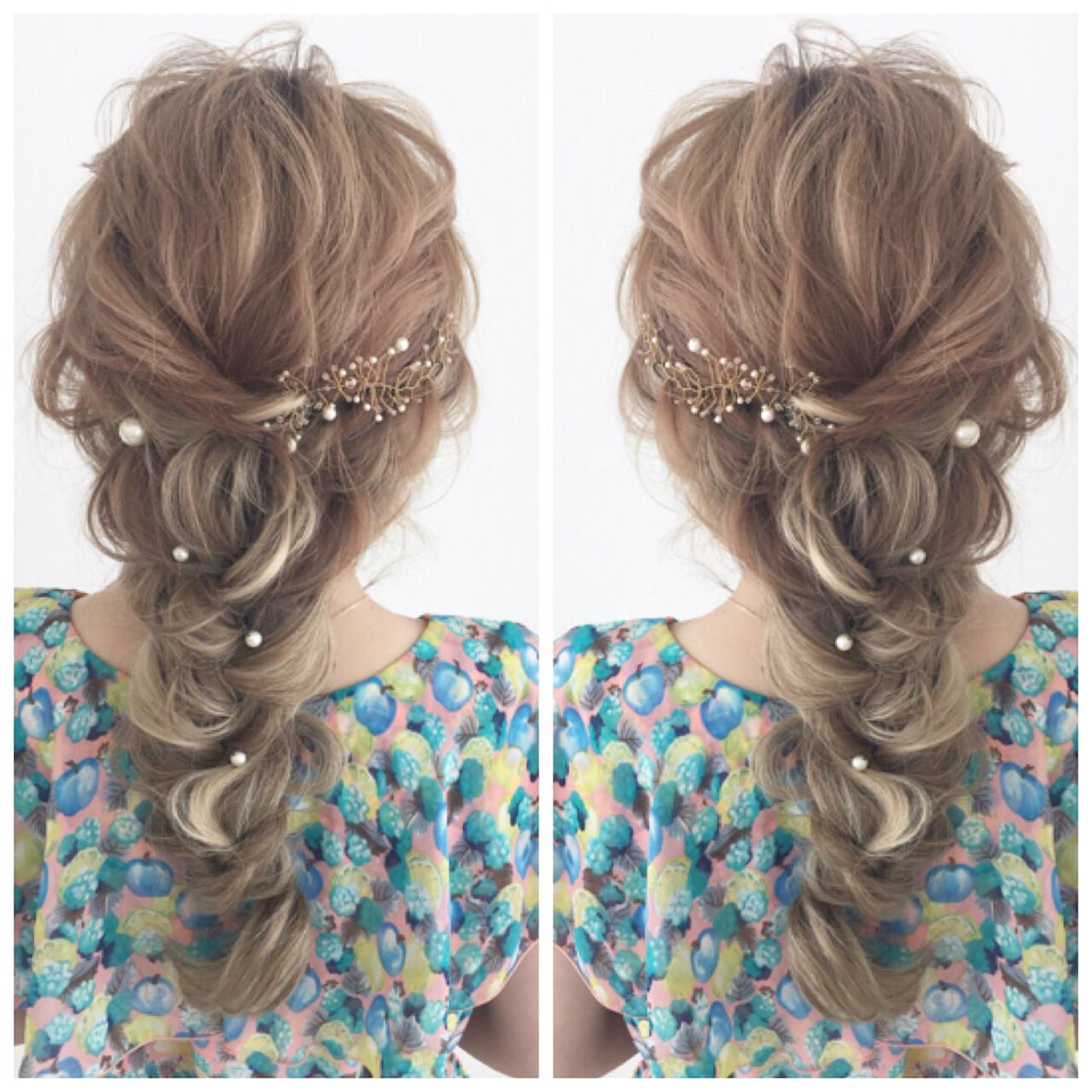 結婚式 簡単ヘアアレンジ ヘアアレンジ 花嫁 ヘアスタイルや髪型の写真・画像