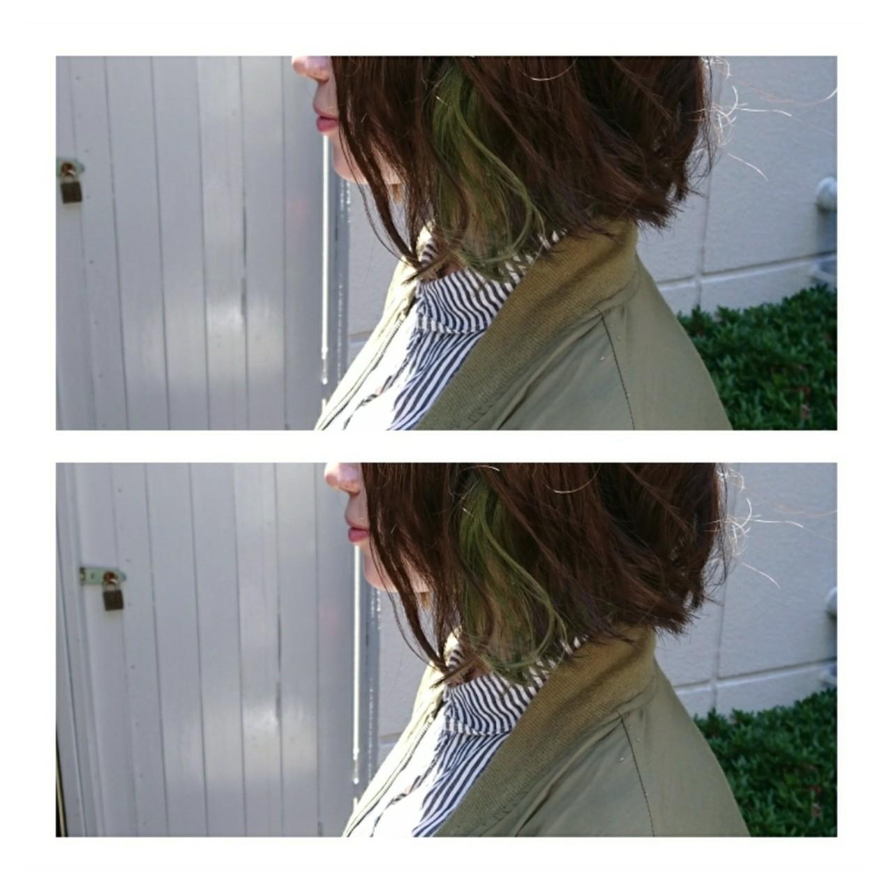 ボブ こなれ感 イルミナカラー インナーカラー ヘアスタイルや髪型の写真・画像 | Yoshiaki harada / BLOCK hairmake