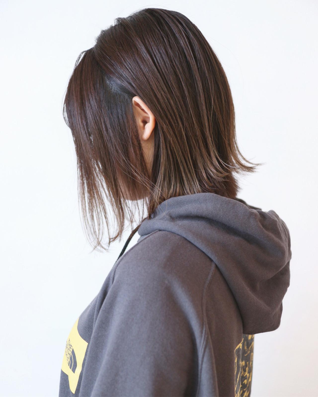 ボブ グラデーションカラー 切りっぱなしボブ アッシュ ヘアスタイルや髪型の写真・画像 | 三好 佳奈美 / Baco.(バコ)