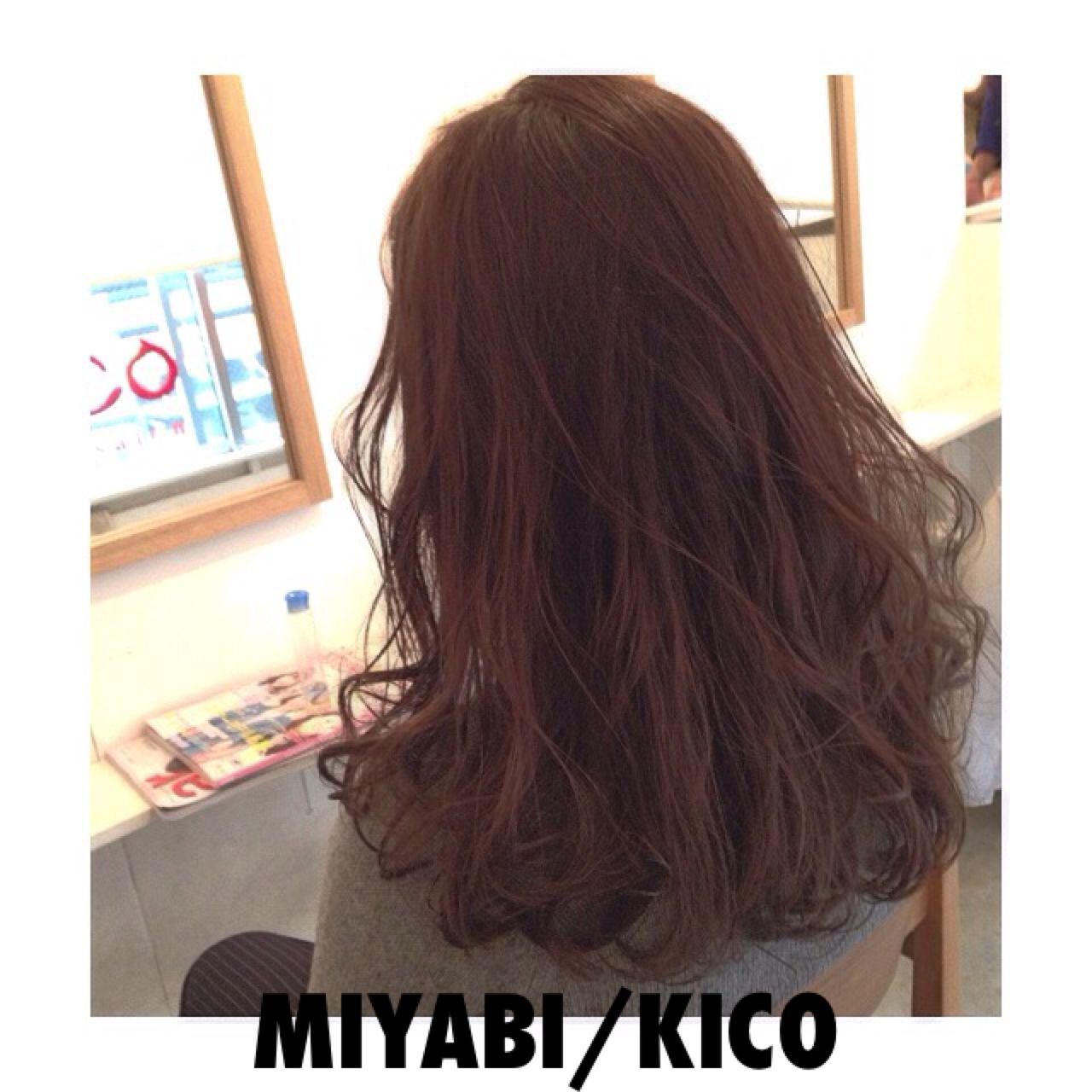 暗髪 ウェットヘア ウェーブ セミロング ヘアスタイルや髪型の写真・画像 | Miyabi/kico / MYBY