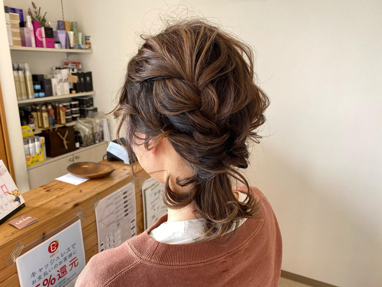 結婚式 編み込みヘア ウルフカット 編みおろしヘア ヘアスタイルや髪型の写真・画像