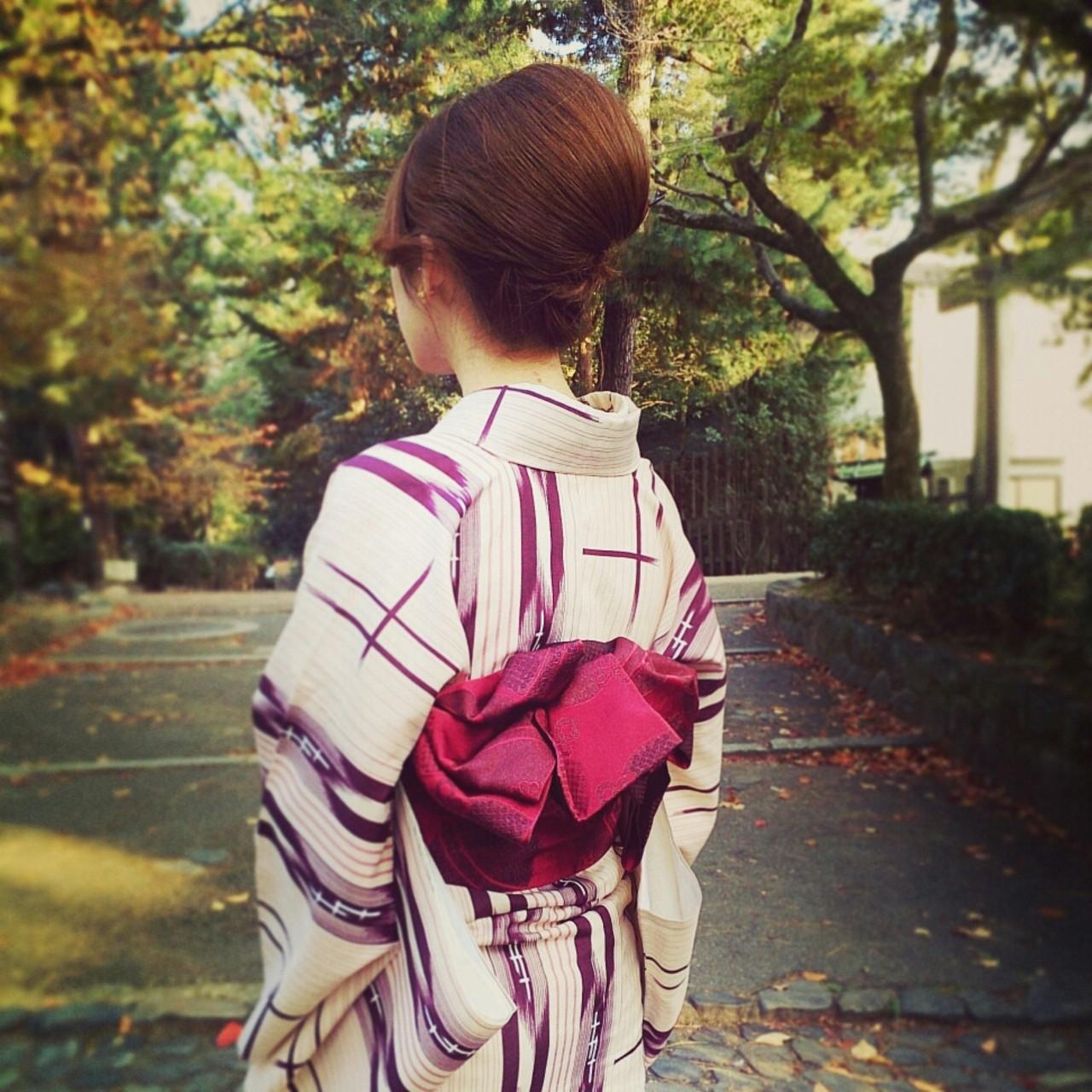 着物 ヘアアレンジ セミロング 夜会巻 ヘアスタイルや髪型の写真・画像 | nayumi /