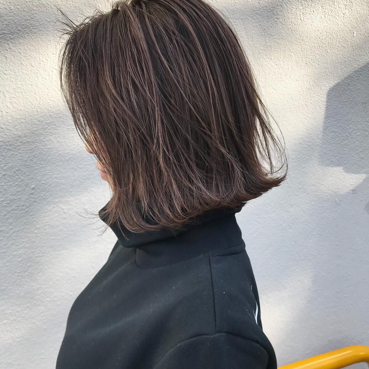 切りっぱなし ロブ ハイライト 外ハネ ヘアスタイルや髪型の写真・画像