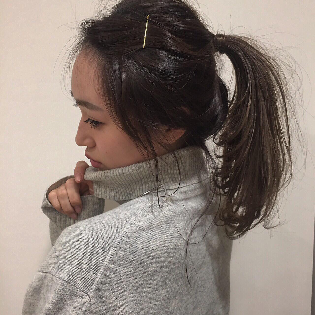 ミルクティー ヘアアレンジ ミディアム フェミニン ヘアスタイルや髪型の写真・画像
