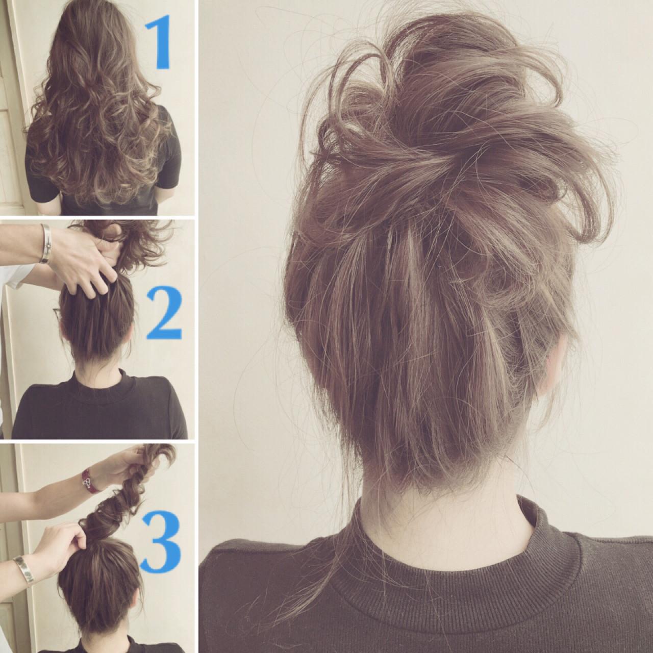セミロング 簡単ヘアアレンジ ショート ハーフアップ ヘアスタイルや髪型の写真・画像