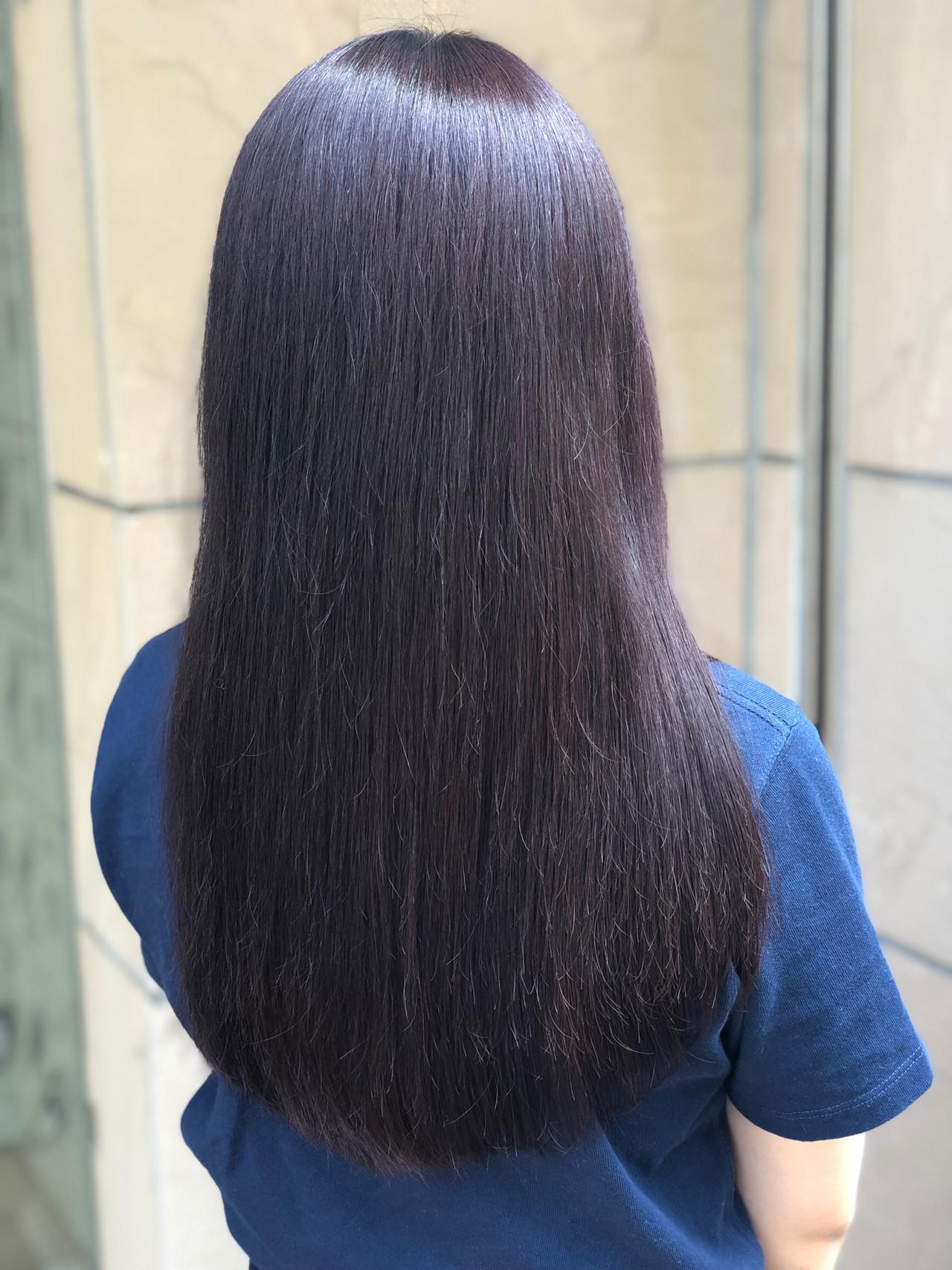 秋 ロング レッドブラウン ナチュラル ヘアスタイルや髪型の写真・画像