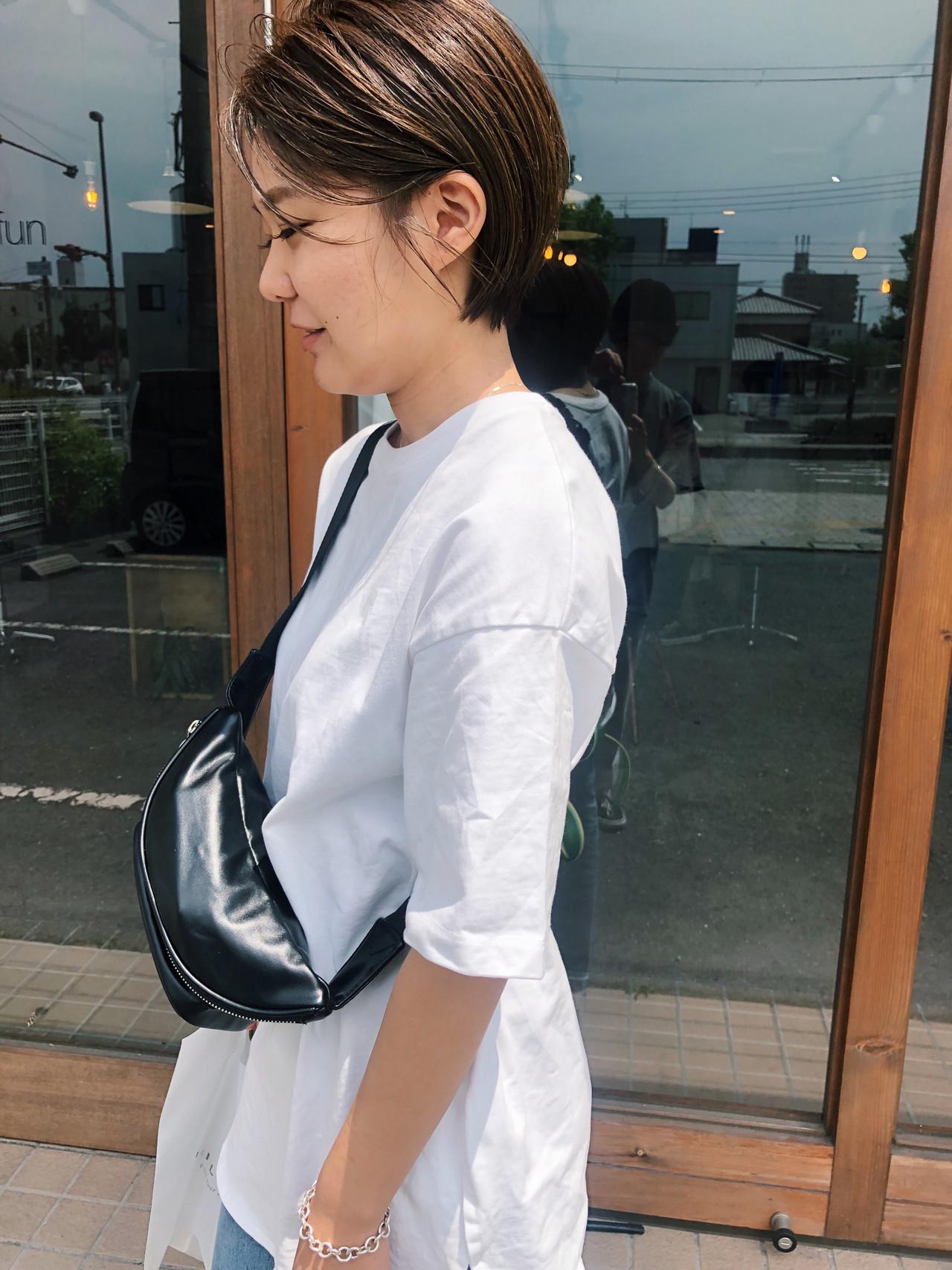 マッシュショート ショート ヘアアレンジ ナチュラル ヘアスタイルや髪型の写真・画像 | 原木翔太 / lufun hair design  ルファン