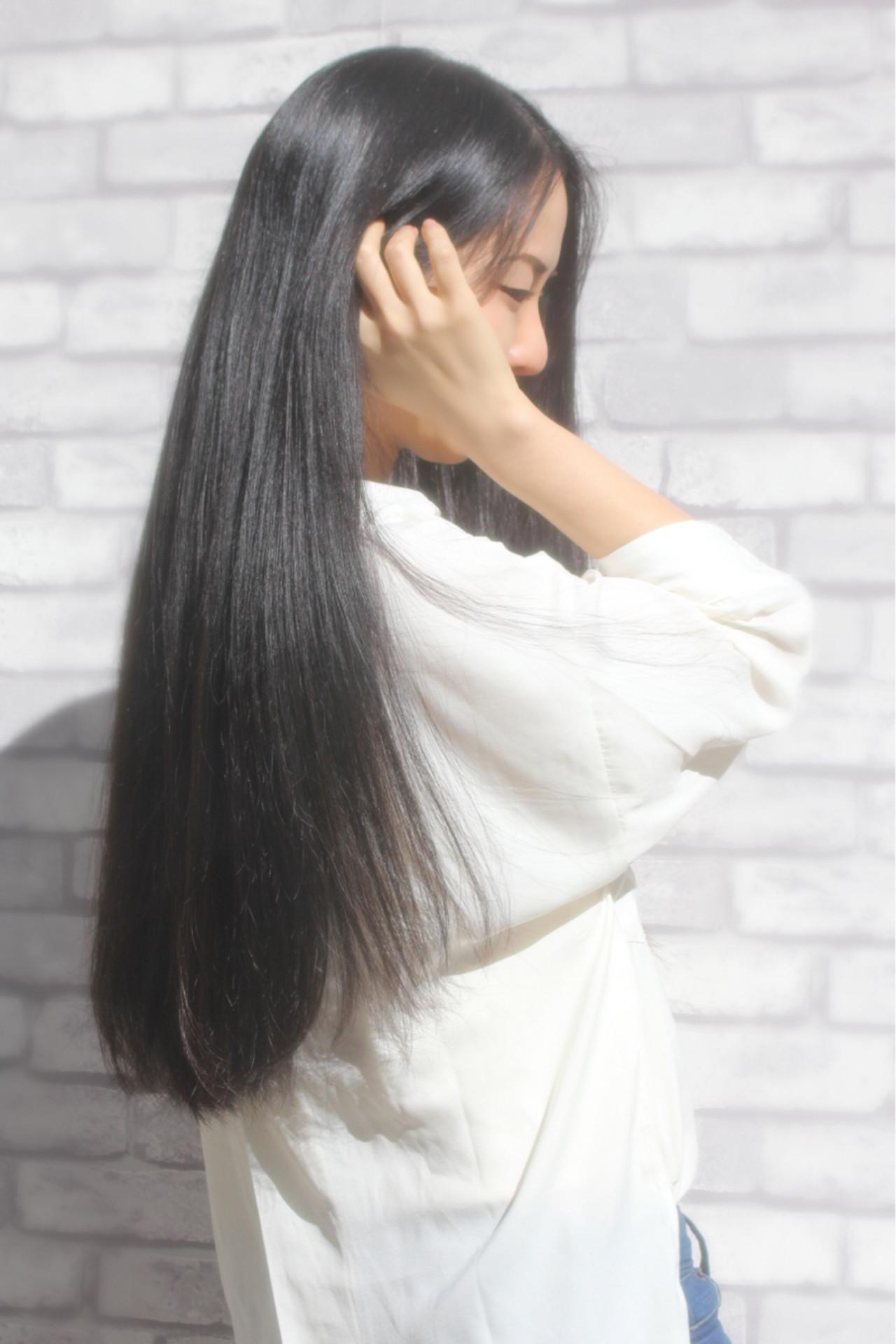 コンサバ ロング アッシュ ストレート ヘアスタイルや髪型の写真・画像 | 山下 拓也 / パースィート 目黒