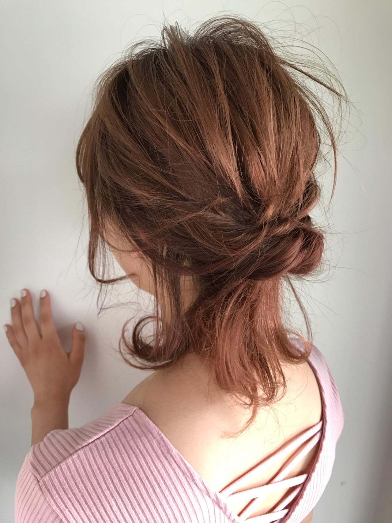 ヘアアレンジ ミディアム ナチュラル デート ヘアスタイルや髪型の写真・画像