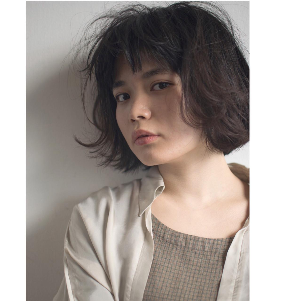 ボブ モード オン眉 パーマ ヘアスタイルや髪型の写真・画像 | anti_RIKUSHI / ANTI