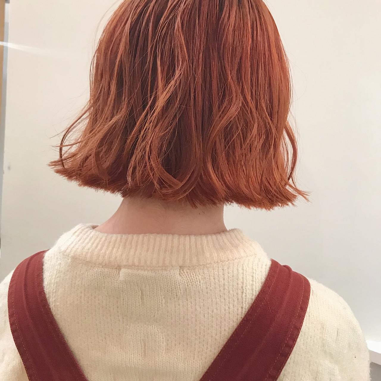 ナチュラル オレンジ オレンジブラウン オレンジカラー ヘアスタイルや髪型の写真・画像