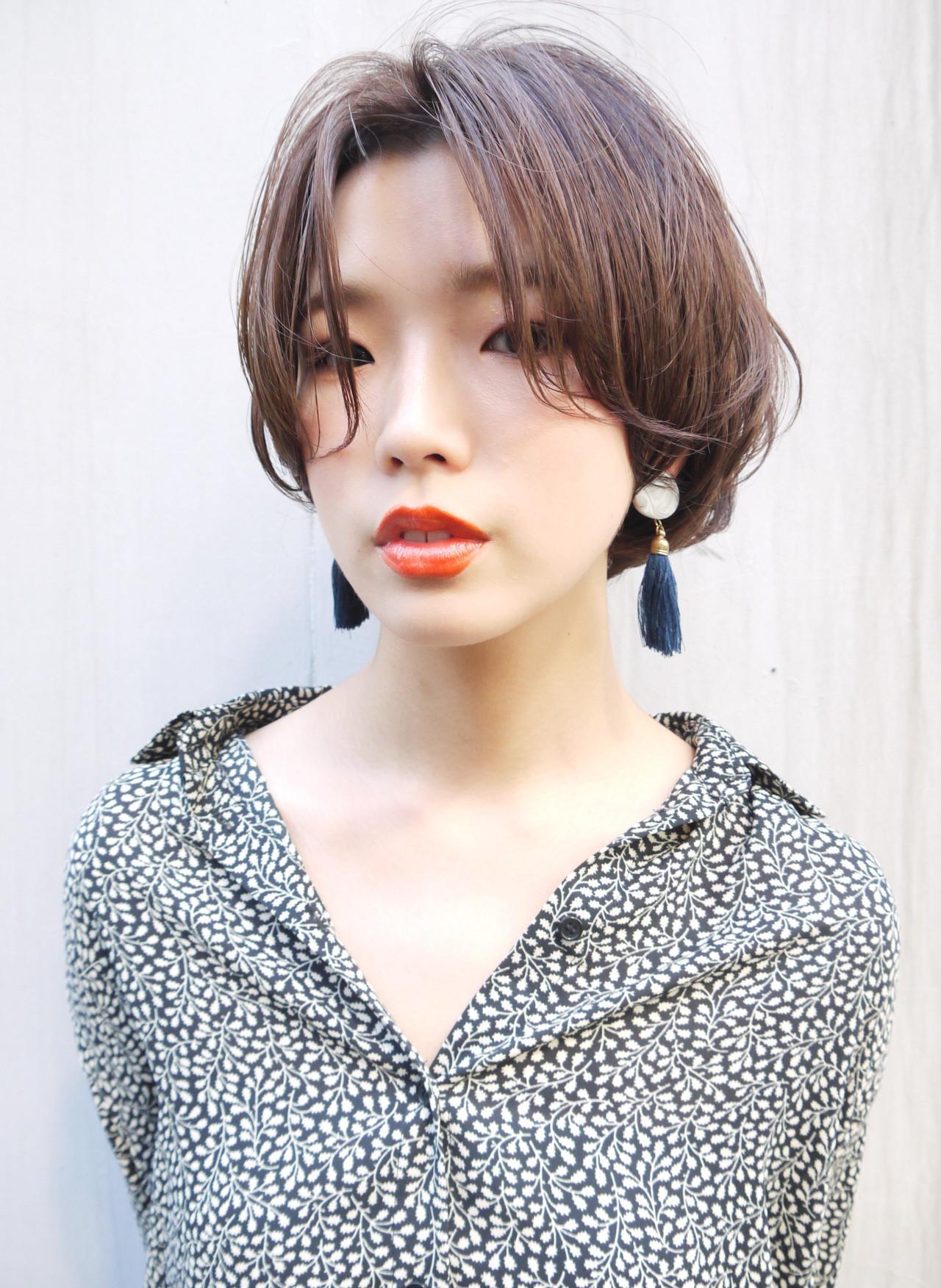 大人かわいい ショートボブ ショート 前髪 ヘアスタイルや髪型の写真・画像