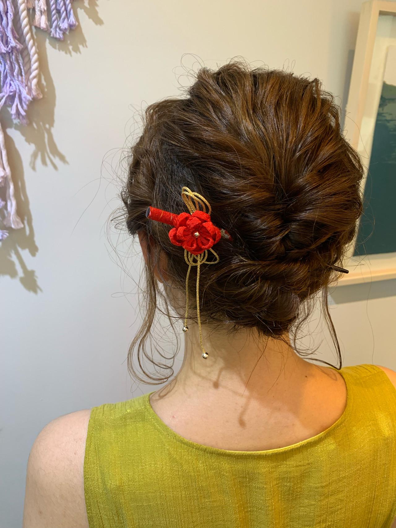 成人式 浴衣ヘア ミディアム 結婚式 ヘアスタイルや髪型の写真・画像