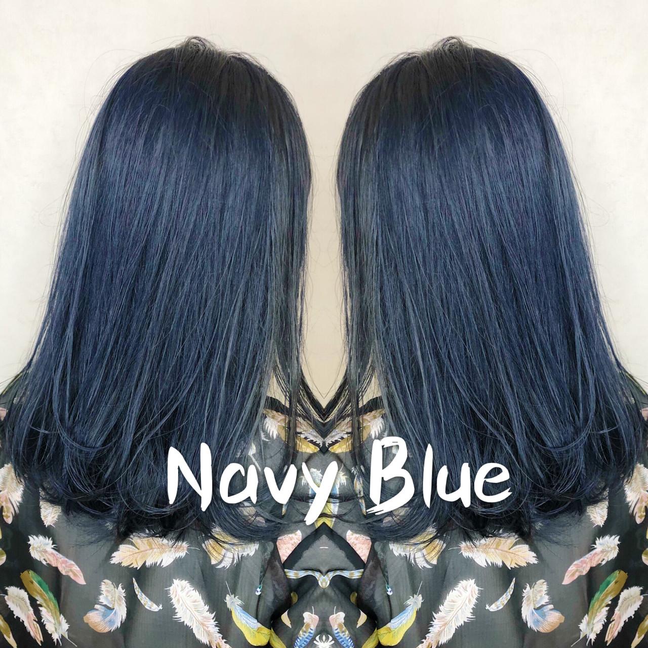ブリーチカラー ネイビーカラー ネイビー ネイビーブルー ヘアスタイルや髪型の写真・画像