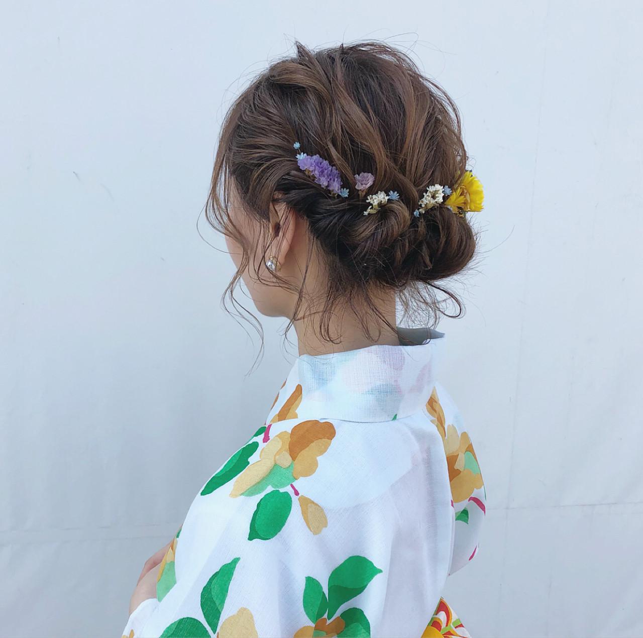 花火大会 ナチュラル 夏 デート ヘアスタイルや髪型の写真・画像